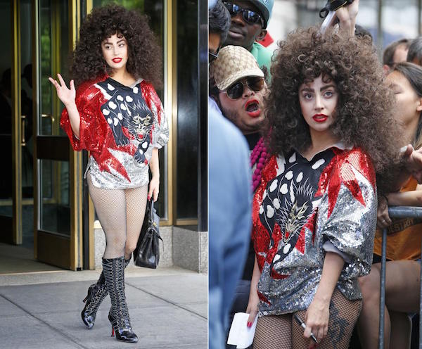 Gaga look like a sexy wild lady in this dress with her curly wig made her more impressive