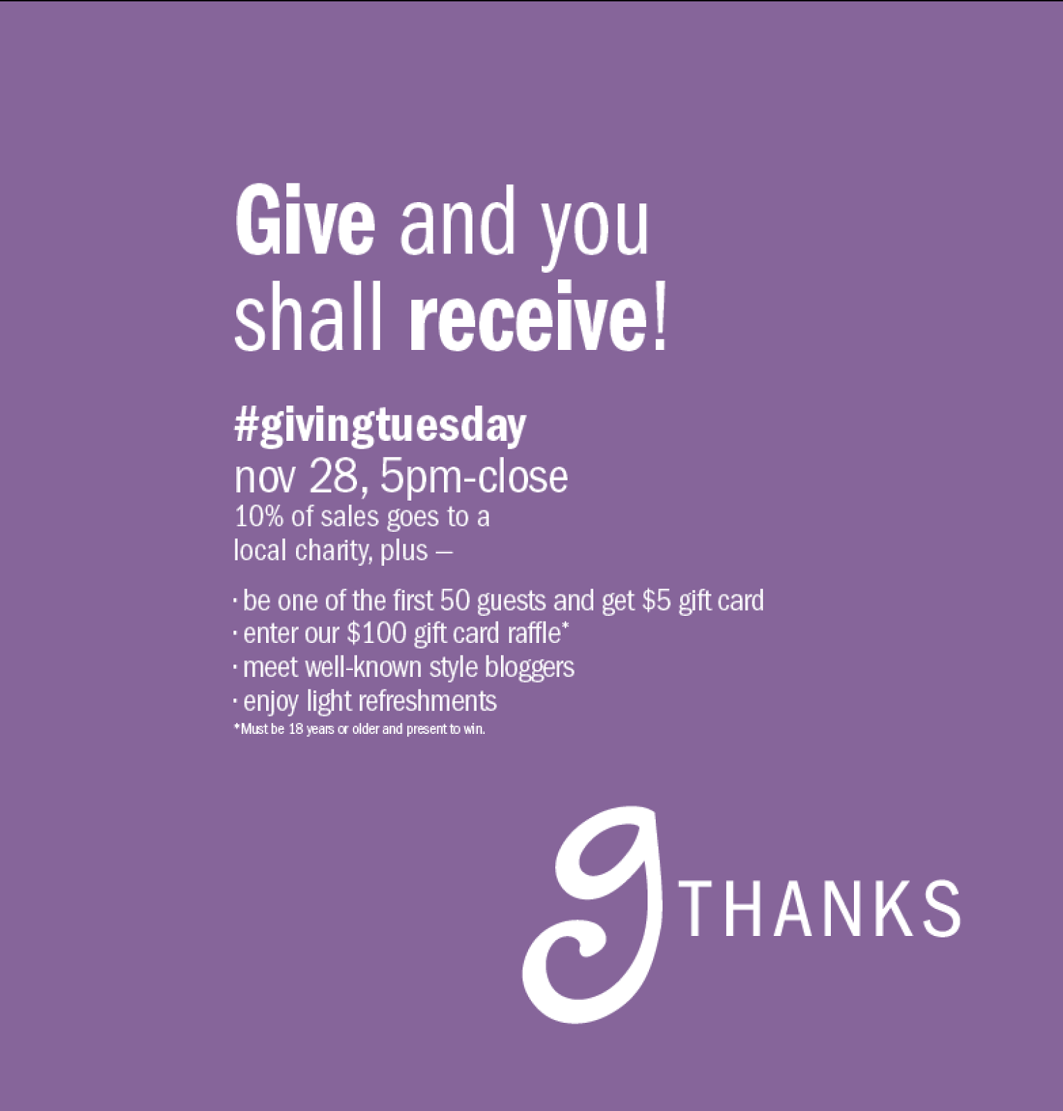 Gordmans gTHANKS event