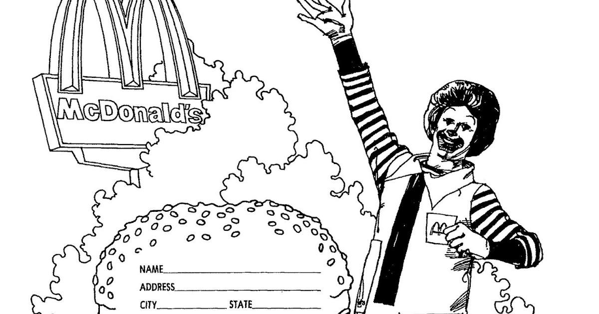 free mcdonalds coloring pages | Ronald Mcdonald Coloring Pages Sketch Coloring Page