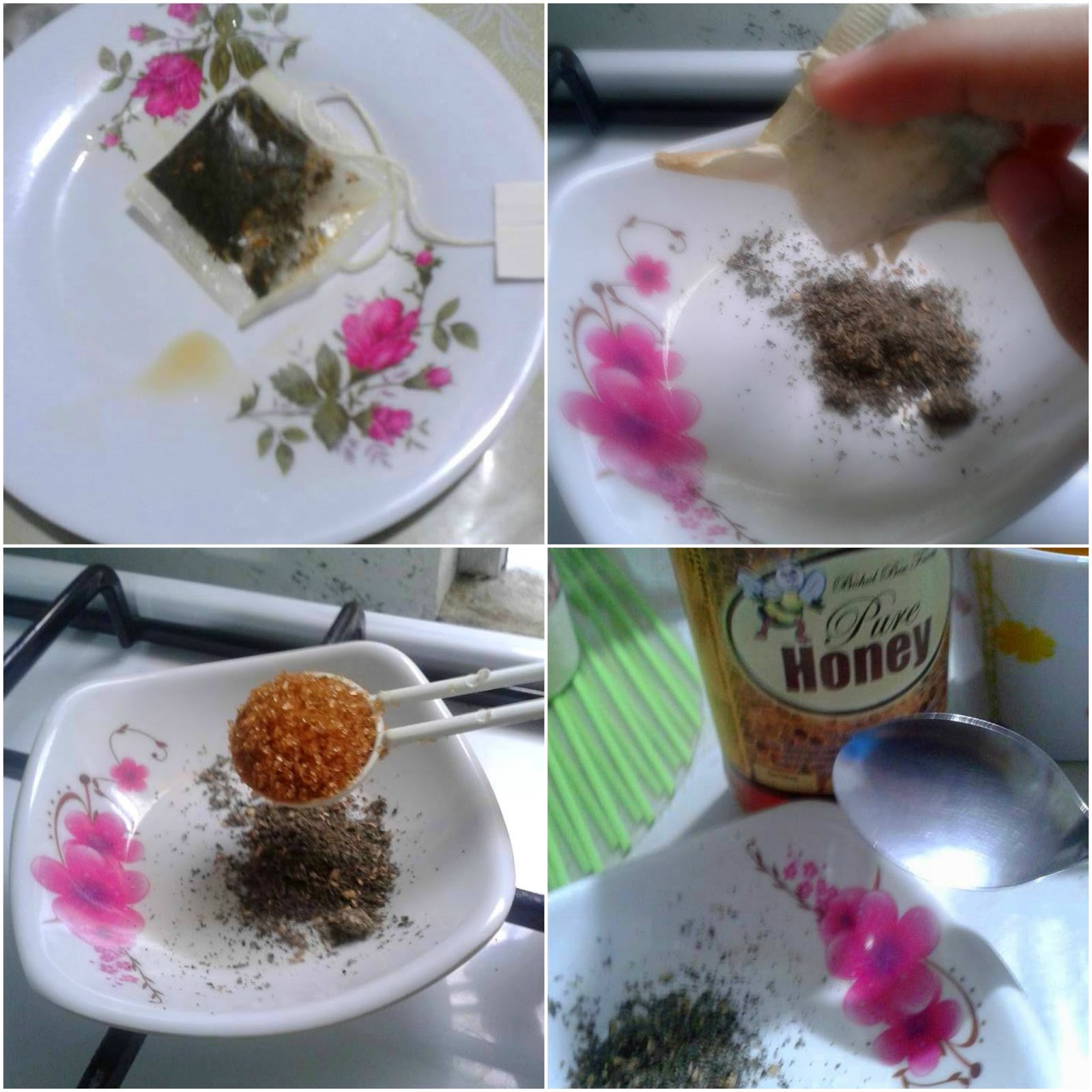 steps on how to have green tea face scrub/mask
