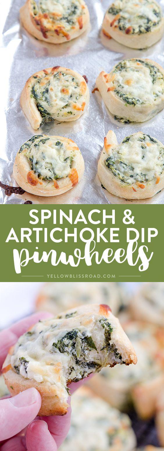 SPINACH ARTICHOKE DIP PINWHEELS - Creamy & Delicious