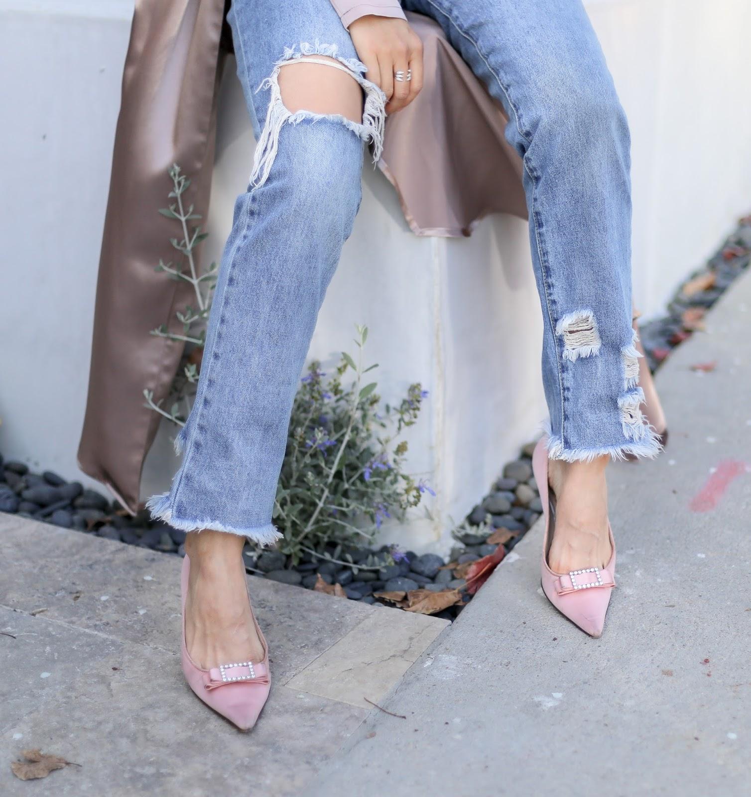 pink rhinestone kitten heels outfit