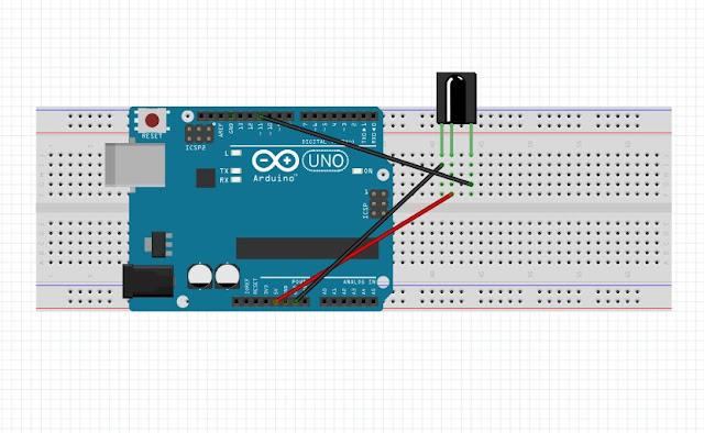 IR receiver aur arduino ka circuit bnaye