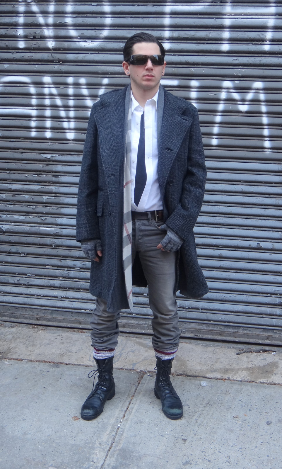 ad6764bc07 Denim by AllSaints Spitalfields  Boots by Altama  Scarf by Burberry  Camp  socks from J Crew  Fingerless gloves from the Men s Store ...