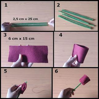 Gambar tutorial bunga tulip cantik dari flanel part 1