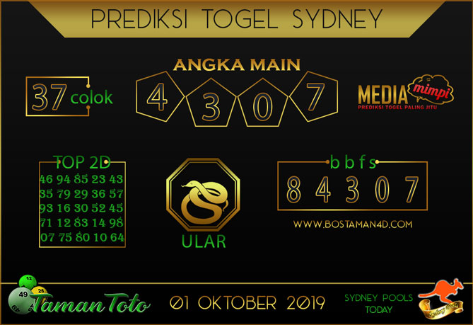 Prediksi Togel SYDNEY TAMAN TOTO 01 OKTOBER 2019