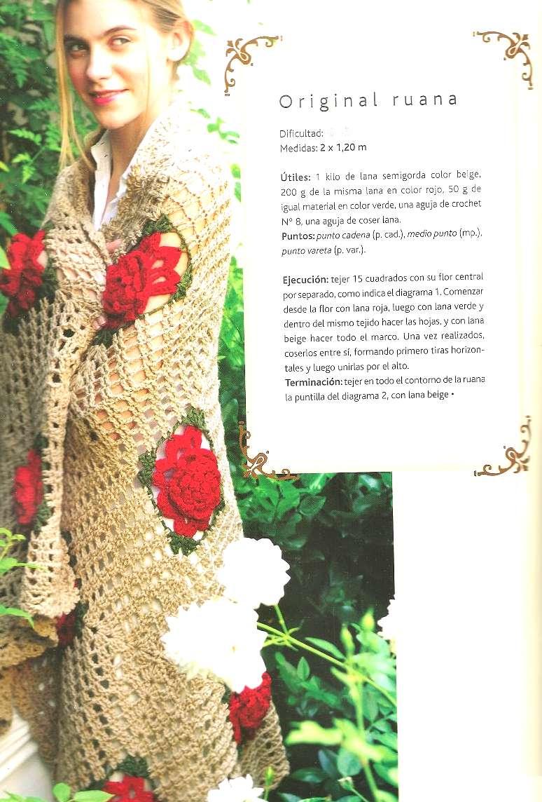 Chal flores en relieve tejido calado cuadrado