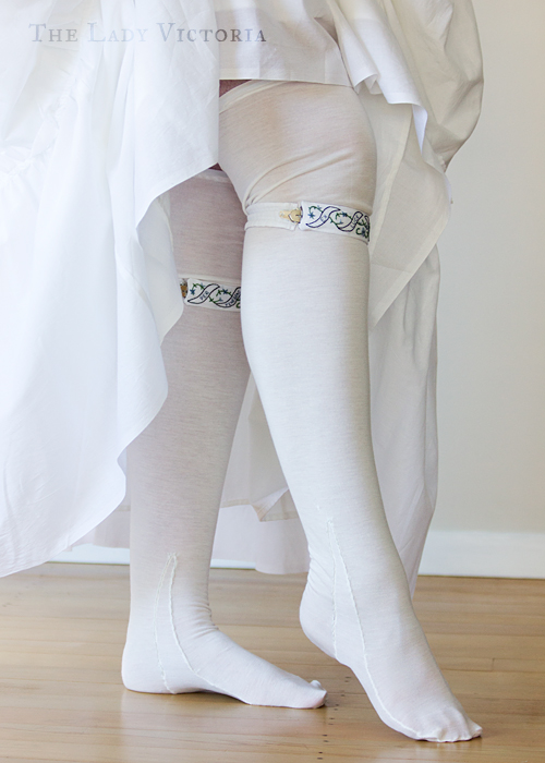 reproduction garters and 18th century stockings worn with petticoats