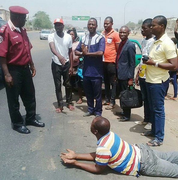Taxi driver prostrates to FRSC official
