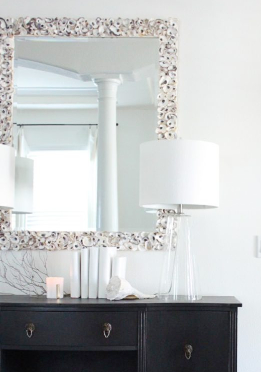 Oyster Shell Mirror Decorating Ideas