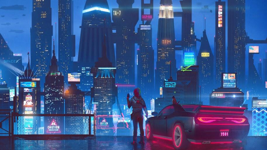 Cyberpunk, Night, City, Car, Buildings, 4K, #4.1066