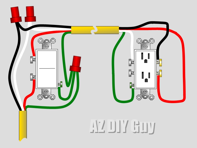 how to wire a split switched outlet by az diy guy 39 s. Black Bedroom Furniture Sets. Home Design Ideas