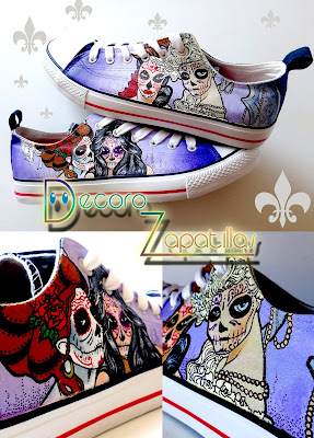 SUGAR SKULLS CUSTOM SHOES HANDPAINTED LOW TOPS