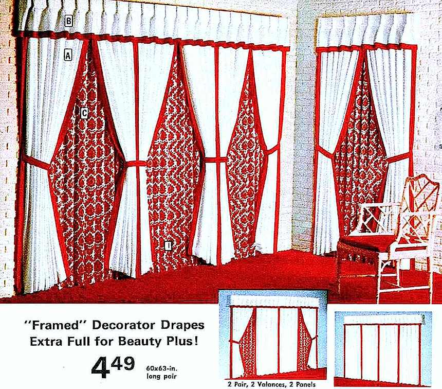 1972 drapes in red and white, catalog photo