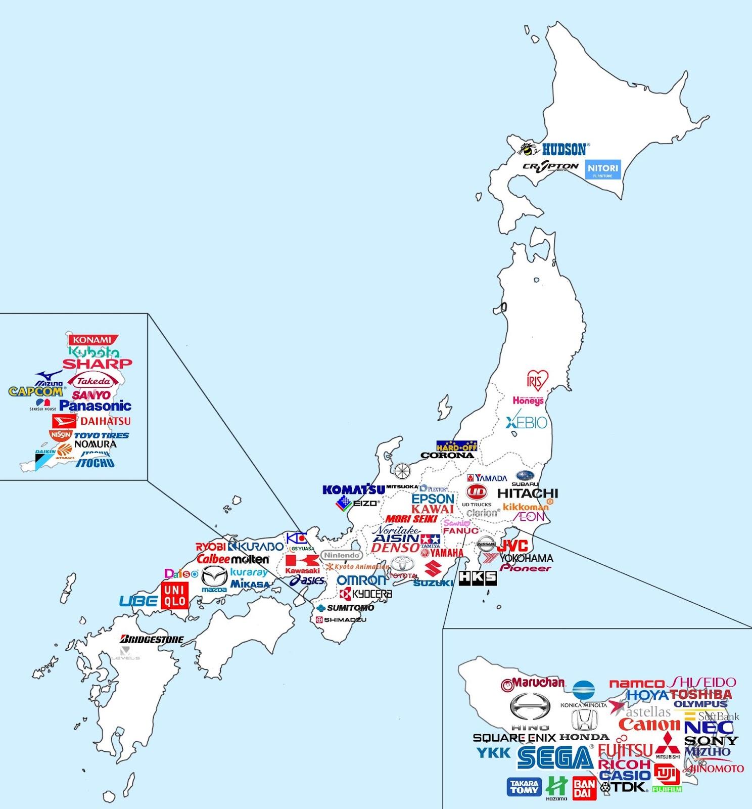 Major Japanese companies map