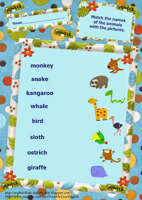 wild animals action verbs matching words and pictures vocabulary worksheet