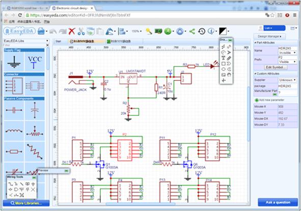 EasyEDA barra de leds diagrama esquemático.