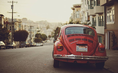 red volkswagen beetle widescreen hd wallpaper