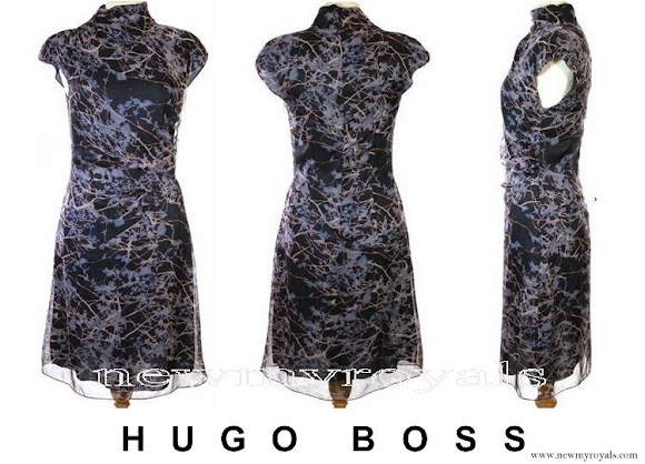 Crown Princess Mary wore BOSS Hugo Boss print blue dress