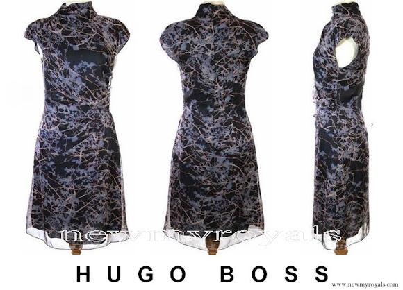Crown Princess Mary wore BOSS Hugo Boss print blue dress