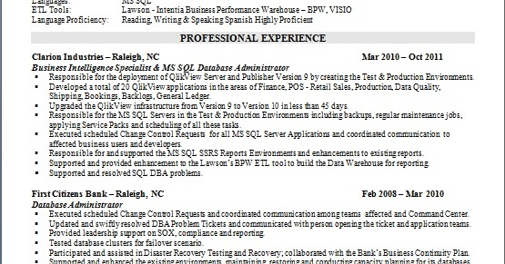 business intelligence specialist resume format in word free download