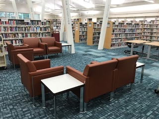 Comfortable reading chairs gathered in a semicircle