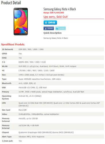 Belum Resmi Rilis, Erafone Bocorkan Spesifikasi Galaxy Note 4