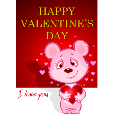 Pink Bear Happy Valentine's Day