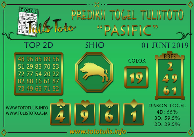 Prediksi Togel PASIFIC TULISTOTO 01 JUNI 2019