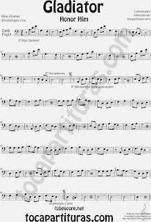 Partitura de Gladiator para Violonchelo y Fagot by Hans Zimmer Gladiator Sheet Music for Cello and Bassoon Music Scores