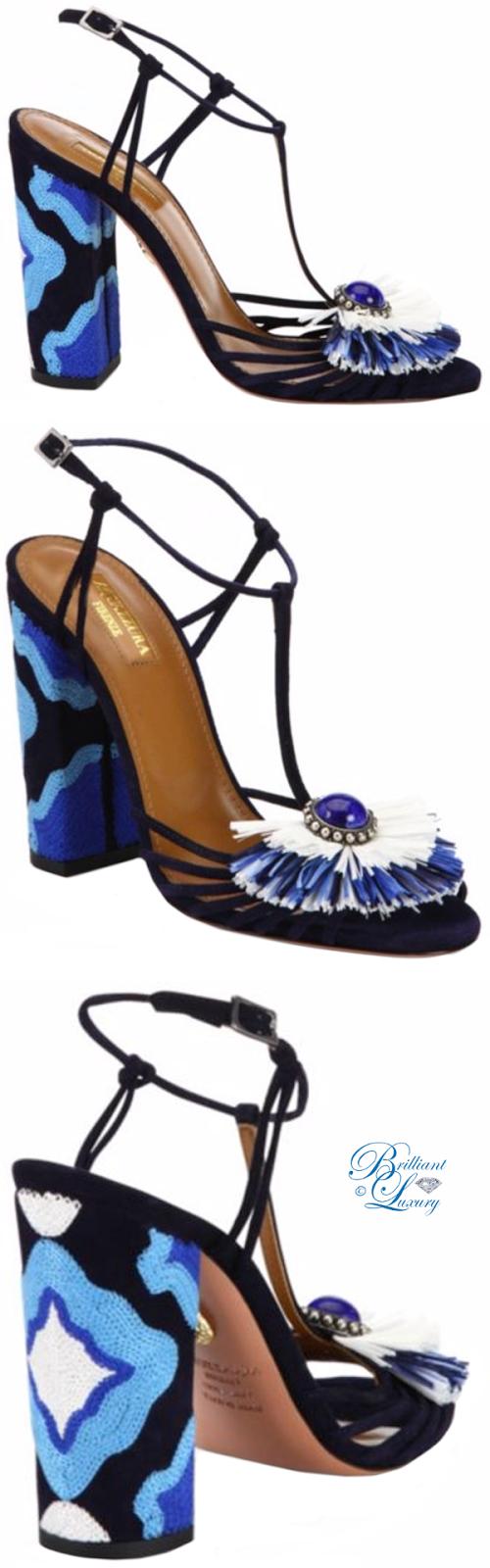 Brilliant Luxury ♦ Aquazzura Samba Embellished Suede Block Heel Sandals