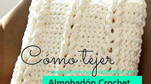 Almohadón con trenzas en relieve a Crochet / PAP