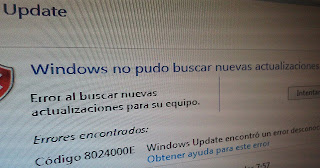 Error windows update código: 8024000E
