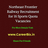 Northeast Frontier Railway Recruitment for 16 Sports Quota Vacancies