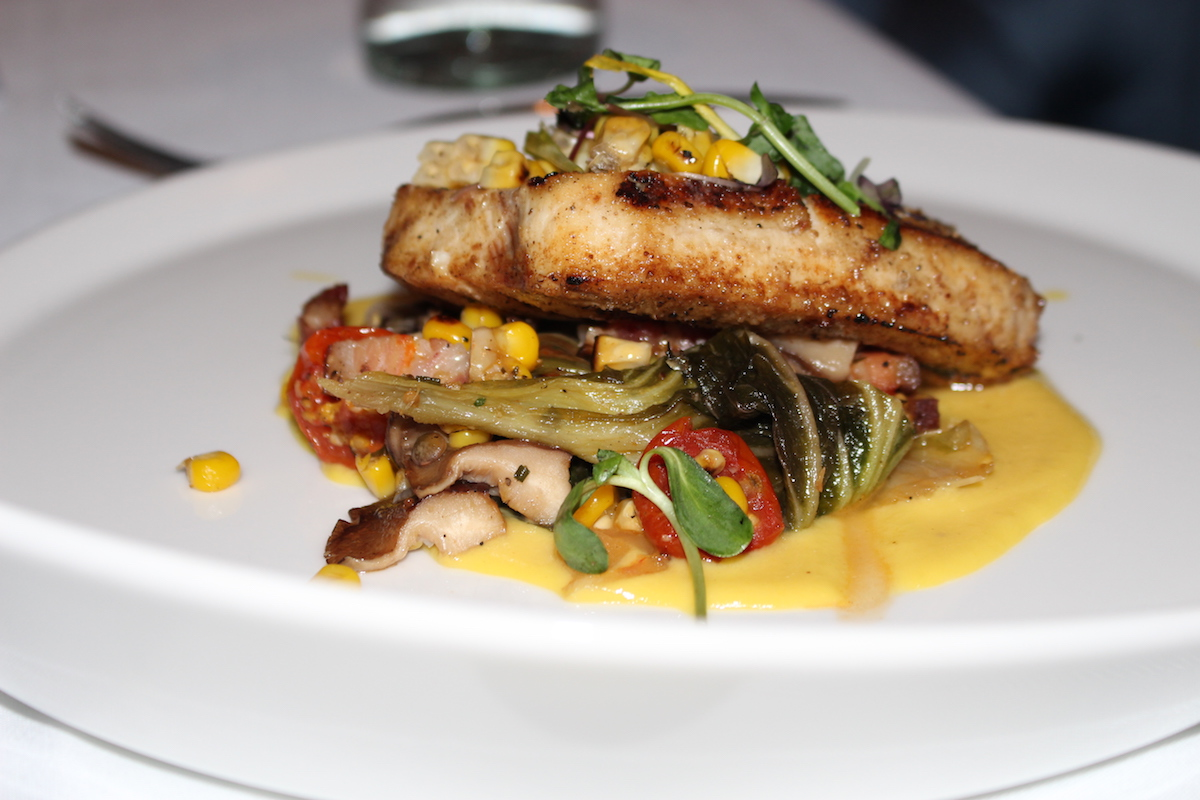 This is a colorful close-up shot of the swordfish steak.