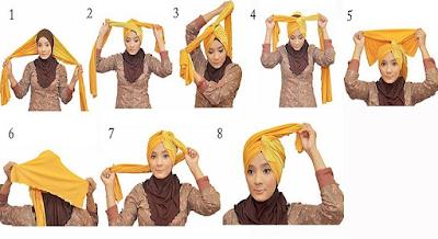 Tutorial Hijab Turban Pashmina Modern Gaya #8 Hobo Style
