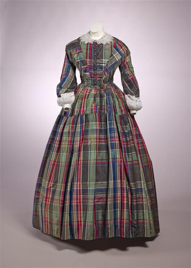 36d35b05af7c4 Dress, two-piece, consisting of bodice with pagoda and wide skirt of green  / red / blue / black checkered silk, ca. 1840-45. via the Museum of  Amsterdam.