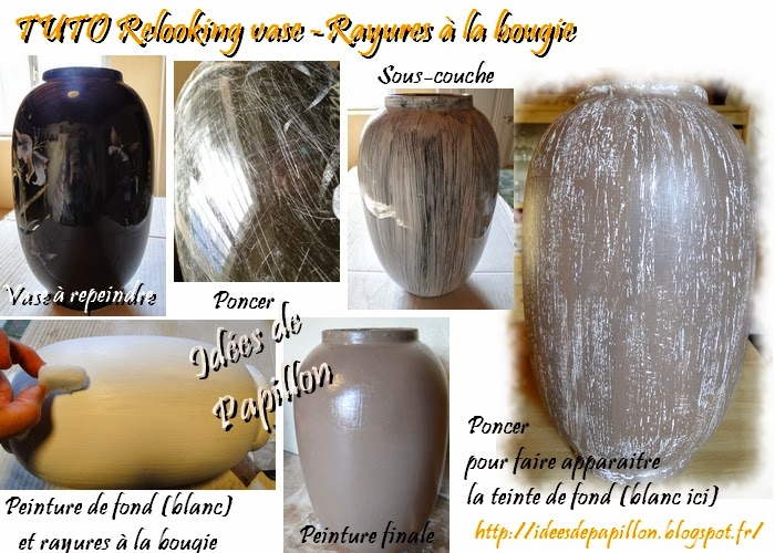 tuto peindre un vase lisse en céramique, patine à la bougie