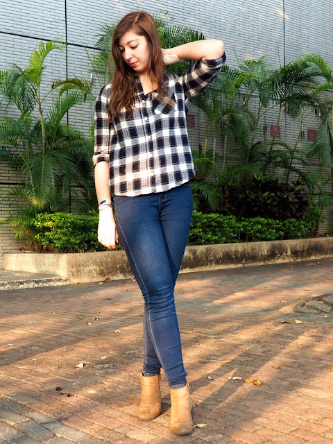 Classic Flannel | outfit of blue and white checked shirt, blue skinny jeans and brown heeled ankle boots