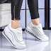 Pantofi sport dama albi la moda din piele eco cu talpa groasa de silicon ieftini