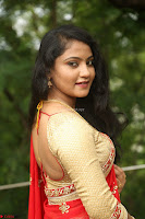 Akshara in Red Saree Golden Choli at LV Movie Makers Production No 1 Movie Opening ~  Exclusive 113.JPG