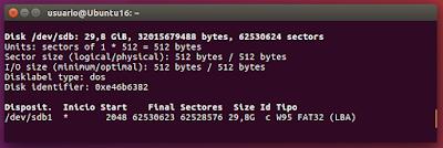 sudo fdisk -l particiones USB sdb