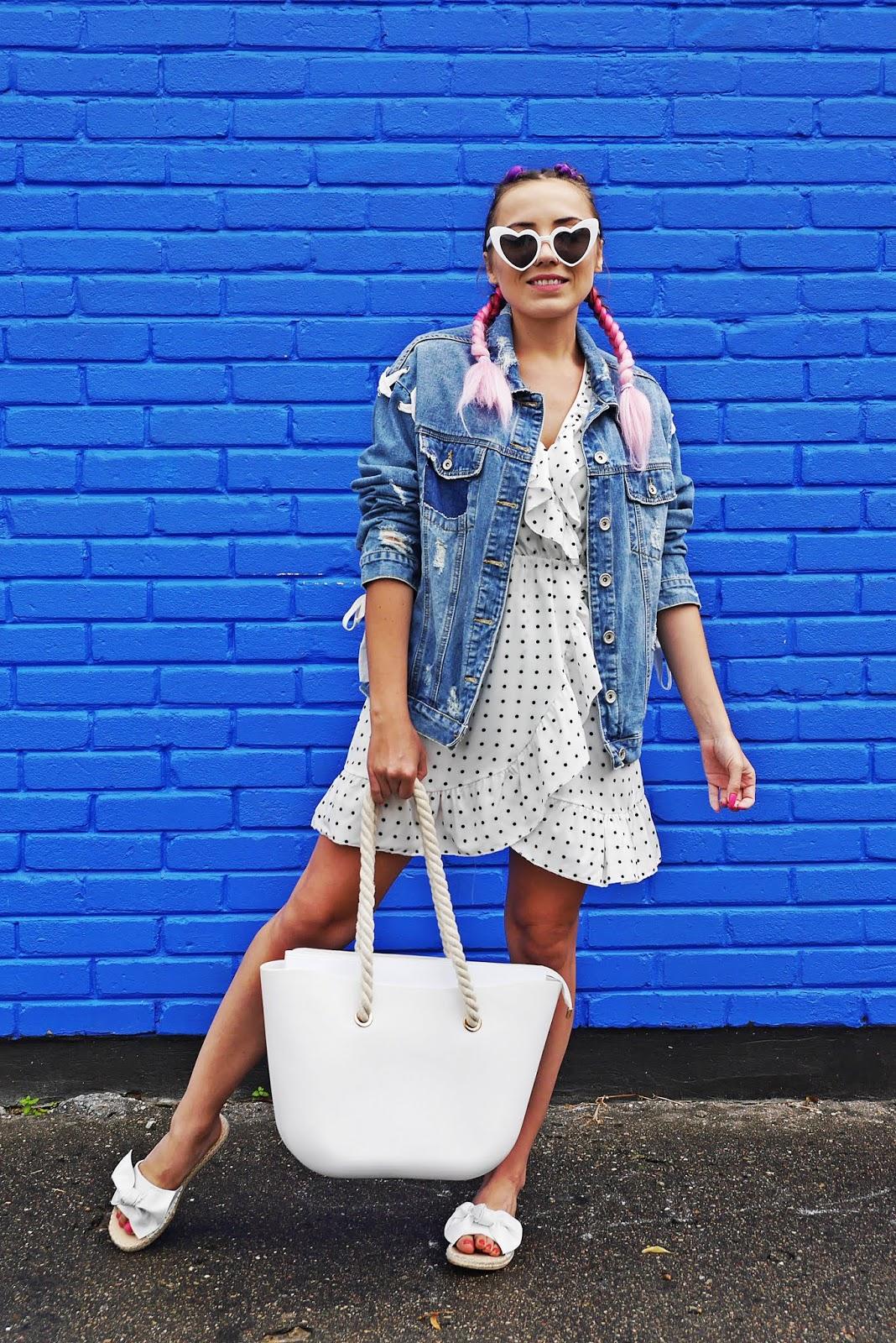 3_sukienka_w_kropki_jeansowa_kurtka_klapki_biale_renee_torebka_obag_karyn_blog_modowy_060818