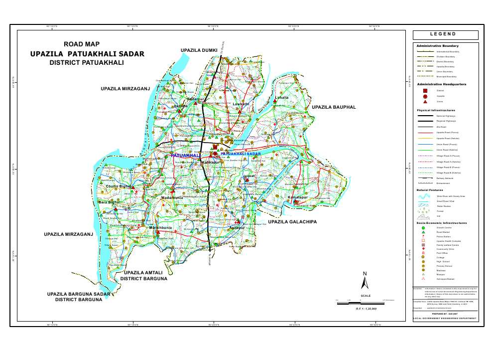 Patuakhali Sadar Upazila Road Map Patuakhali District Bangladesh