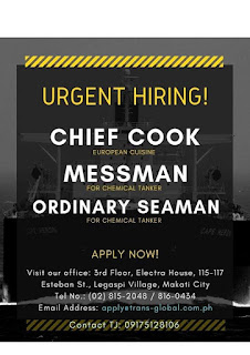 73 Available seaman job vacancy rank cook, messman, ordinary seaman joining this week