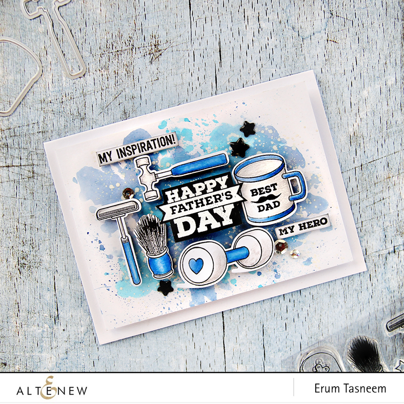 Altenew Best Dad stamp set pencil coloured plus watercoloured background. Card by Erum Tasneem @pr0digy0