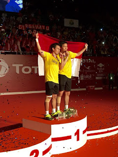 TerimakasihAhsan/Hendra, Juara Dunia Ganda Putra 2015, Istora, Indonesia Juara Dunia 2015