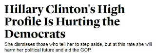 screen cap of Atlantic headline reading: 'Hillary Clinton's High Profile Is Hurting the Democrats'