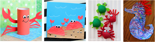 crab crafts and sea horse art projects for kids