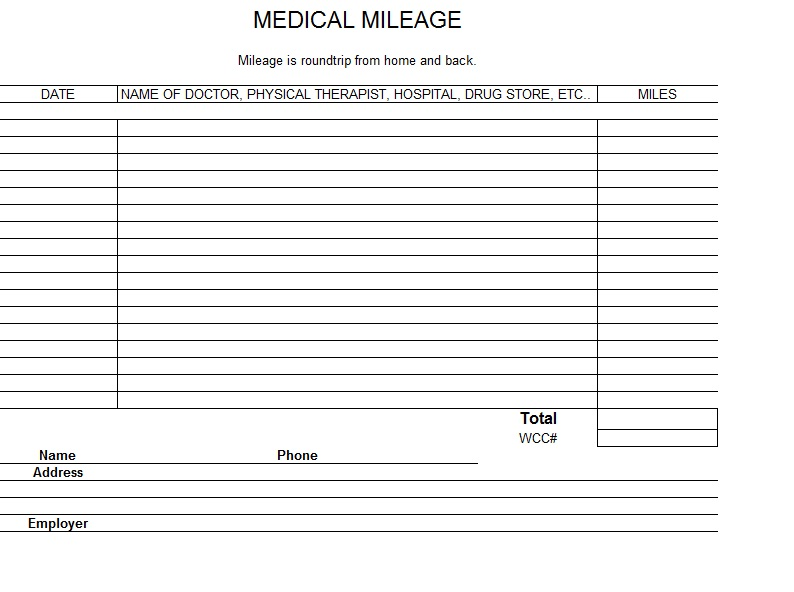 Irs Mileage Log Template Excel